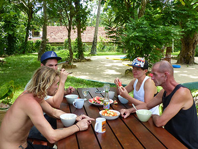 meals in our surfing and yoga centre